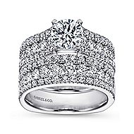 Brielle 14k White Gold Round Straight Engagement Ring angle 4