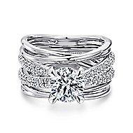 Bright 18k White Gold Round Split Shank Engagement Ring angle 1