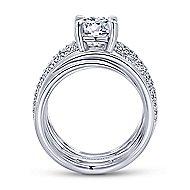 Bright 18k White Gold Round Split Shank Engagement Ring angle 2
