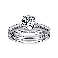 Britta 18k White Gold Round Solitaire Engagement Ring angle 4