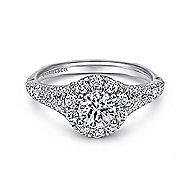 Bruno 14k White Gold Round Halo Engagement Ring angle 1