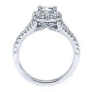 Bruno 14k White Gold Round Halo Engagement Ring angle 2