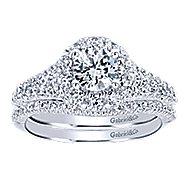 Bruno 14k White Gold Round Halo Engagement Ring angle 4