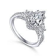 Bryson 18k White Gold Pear Shape 3 Stones Engagement Ring
