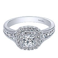 Cabata 14k White Gold Round Double Halo Engagement Ring angle 1