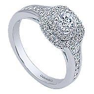 Cabata 14k White Gold Round Double Halo Engagement Ring angle 3