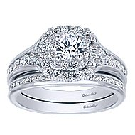 Cabata 14k White Gold Round Double Halo Engagement Ring angle 4