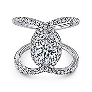 Caldera 14k White Gold Round Halo Engagement Ring angle 1