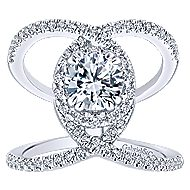 Caldera 14k White Gold Round Halo Engagement Ring angle 5
