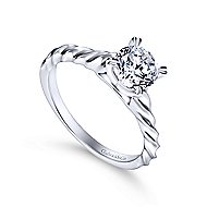 Cali 14k White Gold Round Solitaire Engagement Ring angle 3