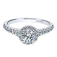 Callisto 14k White Gold Round Halo Engagement Ring