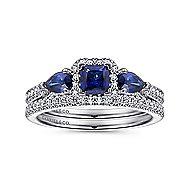 Calvin 14k White Gold Princess Cut Halo Engagement Ring