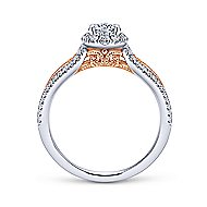 Calypso 14k White And Rose Gold Round Halo Engagement Ring angle 2