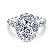 Camellia 18k White Gold Oval Double Halo Engagement Ring angle 1
