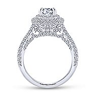 Camellia 18k White Gold Oval Double Halo Engagement Ring angle 2