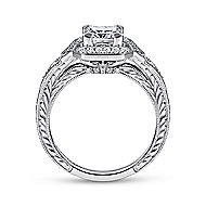 Capulet 14k White Gold Princess Cut Halo Engagement Ring