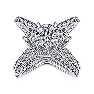 Cara 18k White Gold Round 3 Stones Engagement Ring angle 4