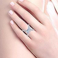 Cara 18k White Gold Round 3 Stones Engagement Ring