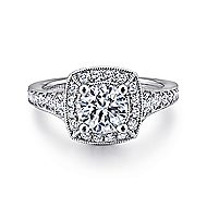 Caraway 14k White Gold Round Halo Engagement Ring angle 1