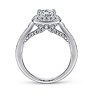Caraway 14k White Gold Round Halo Engagement Ring angle 2