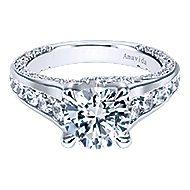 Carela 18k White Gold Round Straight Engagement Ring angle 1