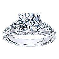 Carela 18k White Gold Round Straight Engagement Ring angle 5