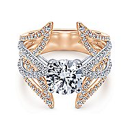 Carissa 18k White And Rose Gold Round Split Shank Engagement Ring angle 1