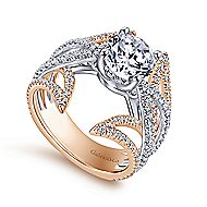 Carissa 18k White And Rose Gold Round Split Shank Engagement Ring angle 3