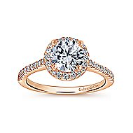 Carly 14k Rose Gold Round Halo Engagement Ring