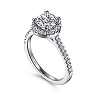 Carly 14k White Gold Round Halo Engagement Ring angle 3