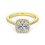 Carly 14k Yellow Gold Cushion Cut Halo Engagement Ring angle 2