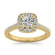 Carly 14k Yellow Gold Cushion Cut Halo Engagement Ring angle 5