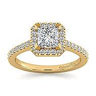 Carly 14k Yellow Gold Princess Cut Halo Engagement Ring