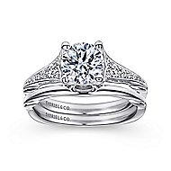 Carmelitilla 18k White Gold Round Split Shank Engagement Ring