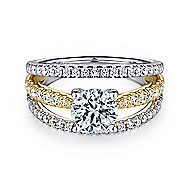 Carmina 14k Yellow And White Gold Round Split Shank Engagement Ring