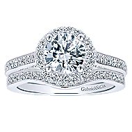 Carnation 14k White Gold Round Halo Engagement Ring