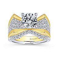 Carol 14k Yellow And White Gold Round Straight Engagement Ring angle 4