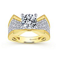 Carol 14k Yellow And White Gold Round Straight Engagement Ring angle 5