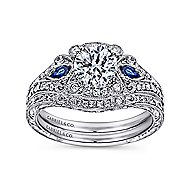 Carolina Platinum Round 3 Stones Halo Engagement Ring