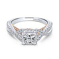 Caroline 14k White And Rose Gold Princess Cut Twisted Engagement Ring