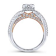 Caroline 14k White And Rose Gold Princess Cut Twisted Engagement Ring