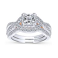 Caroline 14k White And Rose Gold Princess Cut Twisted Engagement Ring angle 4