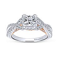 Caroline 14k White And Rose Gold Princess Cut Twisted Engagement Ring angle 5