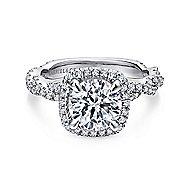 Carrick 18k White Gold Round Halo Engagement Ring angle 1