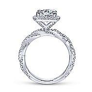 Carrick 18k White Gold Round Halo Engagement Ring angle 2