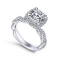 Carrick 18k White Gold Round Halo Engagement Ring angle 3