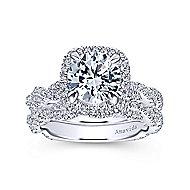 Carrick 18k White Gold Round Halo Engagement Ring angle 4
