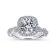 Carrick 18k White Gold Round Halo Engagement Ring angle 5