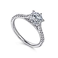 Casey 14k White Gold Round Straight Engagement Ring angle 3