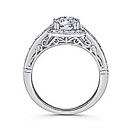Cashmere 18k White Gold Round Halo Engagement Ring